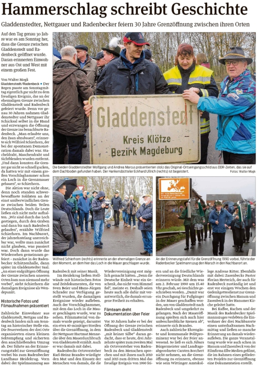 20200204 Volksstimme - Gladdenstedt und Radenbeck - 30. Grenzöffnungsfeier (Walter Mogk)
