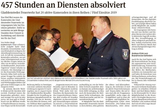 20200205 Volksstimme - Gladdenstedt - 20 aktive Kameraden in der Ortsfeuerwehr (Walter Mogk)