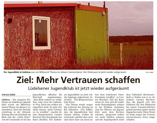 20200207 Altmark Zeitung - Lüdelsen -  Aufgeräumter Jugendklub (Kai Zuber)
