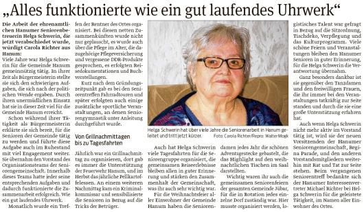 20200210 Volksstimme - Hanum - Ehrung für Helga Schwerin als Seniorenbetreuerin (Carola Richter)