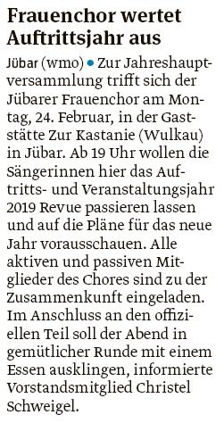 20200211 Volksstimme - Jübar - JHV des Fauenchores am 24. (Walter Mogk)