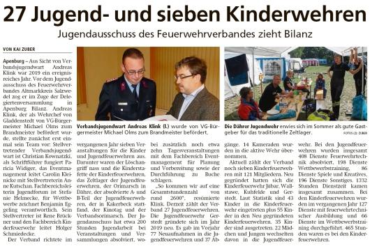 20200213 Altmark Zeitung - Gladdenstedt - FFW - Verbandsjugendwart Andreas Klink ist Brandmeister (Kai Zuber)