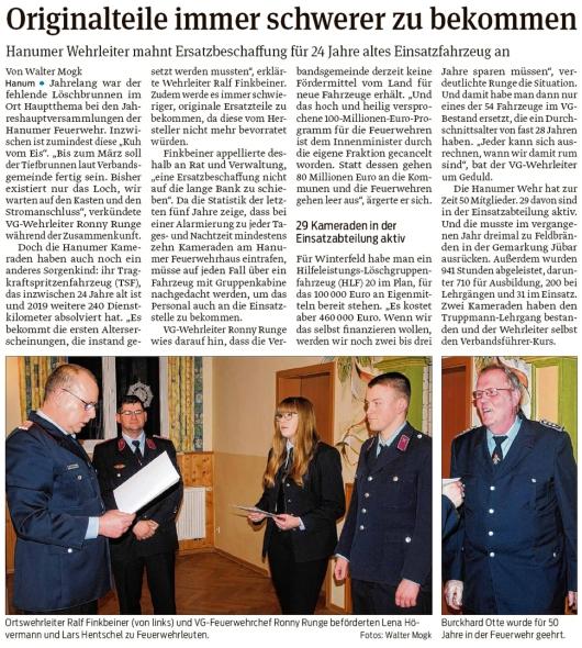 20200212 Volksstimme - Hanum - Feuerwehr braucht Ersatzteile (Walter Mogk)