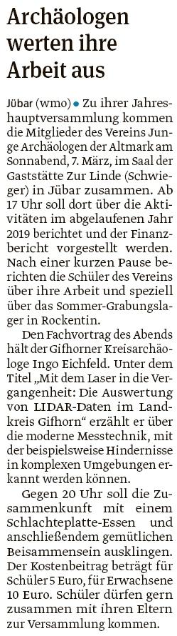 20200215 Volksstimme - Jübar - Junge Archäologen - Jahreshauptversammlung bei Schwieger (Walter Mogk)