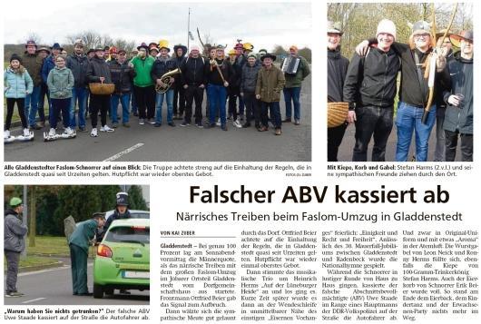 20200217 Altmark Zeitung - Gladdenstedt - Närrisches Treiben beim Faslom-Umzug (Kai Zuber)