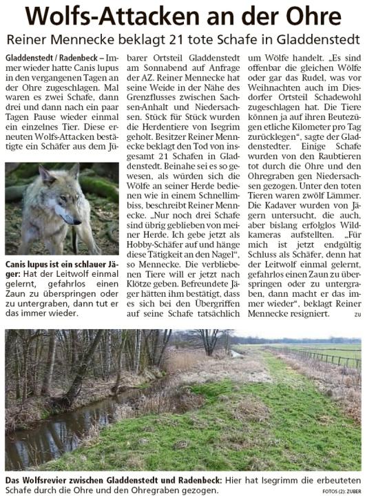 20200218 Altmark Zeitung - Gladdenstedt - Reiner Mennecke beklagt 21 tote Schafe (Kai Zuber)