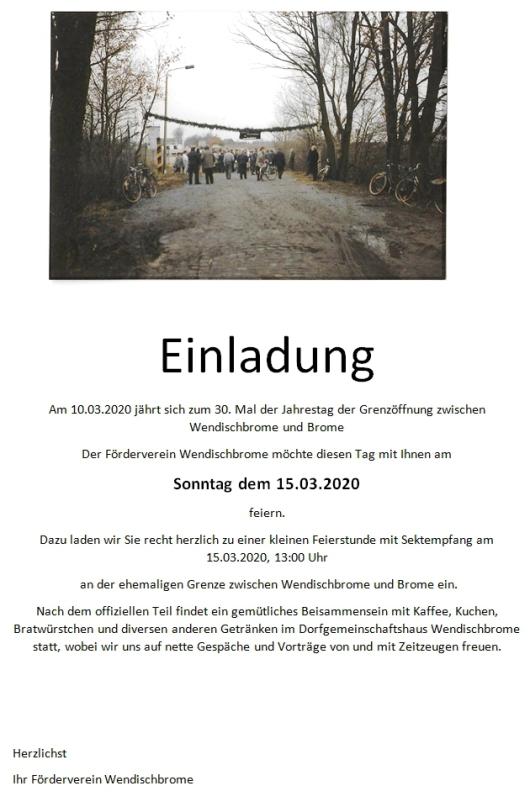 20200220 Wendischbrome - WB-Förderverein 30. Grenzöffnungsfeier am 15.03.2020