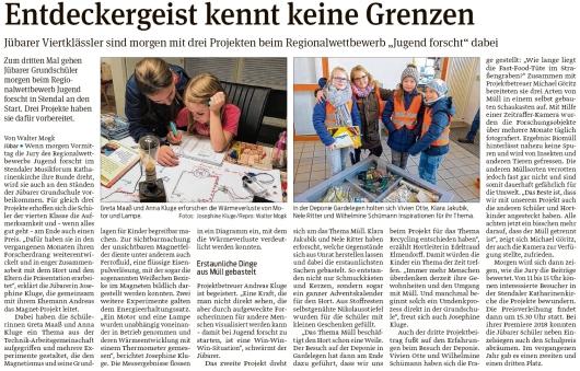 20200226 Volksstimme - Jübar - Viertklässler mit drei Projekten bei -Jugend forscht- (Walter Mogk)