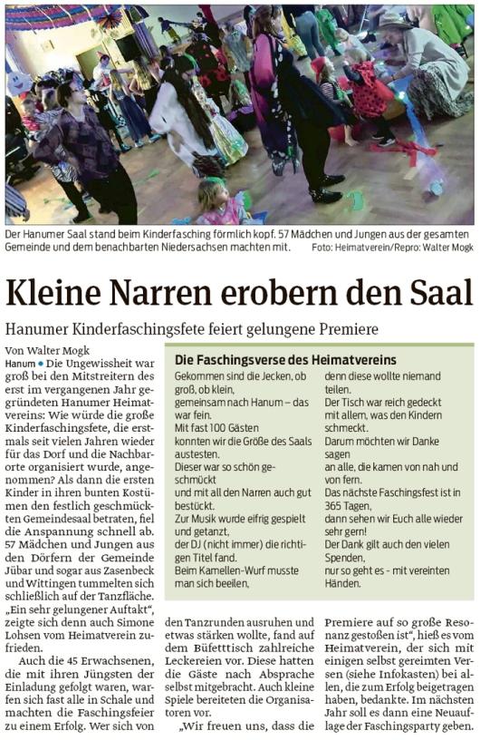 20200227 Volksstimme - Hanum - Kleine Narren auf Kinderfaschingsfete (Walter Mogk)
