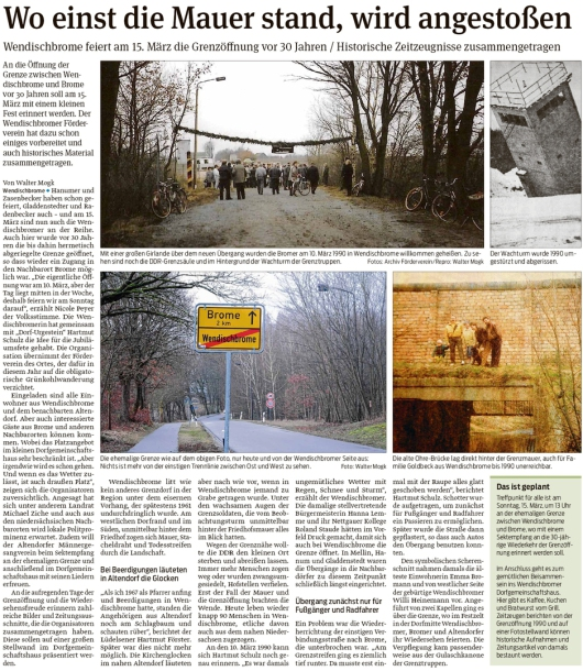 20200229 Volksstimme - Wendischbrome-Brome - 30. Grenzöffnungsfeier am 15. März (Walter Mogk)