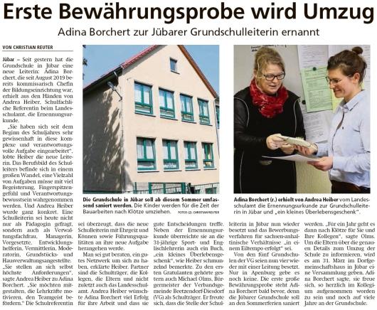 20200229 Altmark Zeitung - Jübar -  Adina Borchert ist Grundschulleiterin (Christian Reuter)