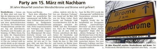 20200303 Altmark Zeitung - Wendischbrome-Brome - 30-Jahrfeier am 15. März (Kai Zuber)