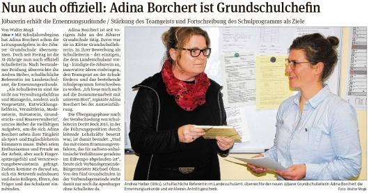 20200303 Volksstimme - Jübar -  Adina Borchert ist Grundschulleiterin (Walter Mogk)