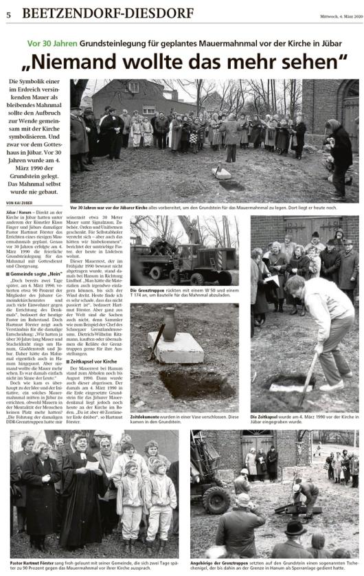 20200304 Altmark Zeitung - 1990 Mauerfall - geplantes Mahnmal an Jübarer Kirche (Kai Zuber)