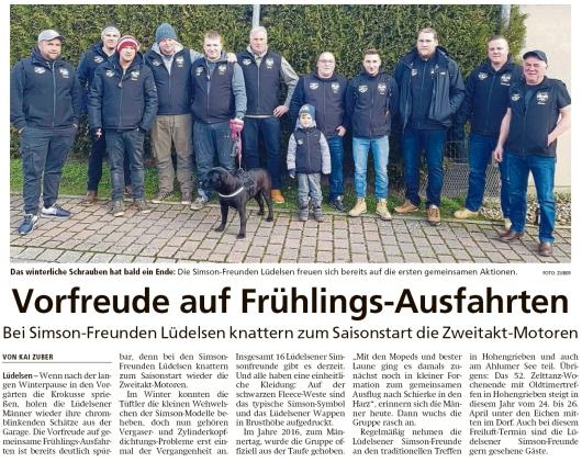 20200306 Altmark Zeitung - Lüdelsen - Simson-Freunde planen Frühlingsausfahrten (Kai Zuber)