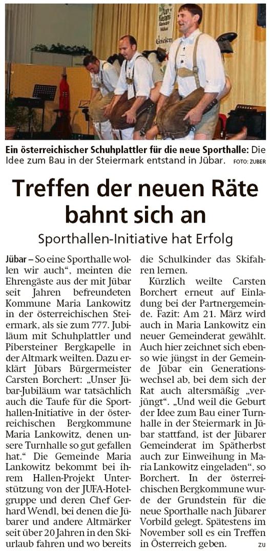 20200311 Altmark Zeitung - Sporthallen-Initiative in Maria Lankowitz (Kai Zuber)