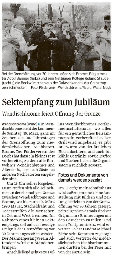 20200312 Volksstimme - Wendischbrome-Brome - 30. Grenzöffnungsfeier am 15. März (Walter Mogk)