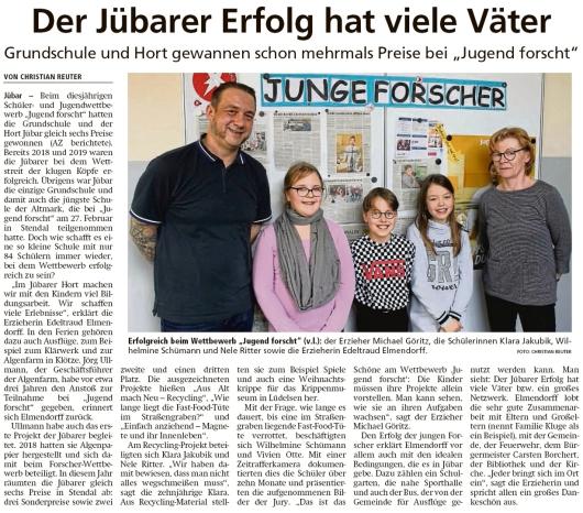 20200313 Altmark Zeitung - Jübar -  Preise für Grundschule und Hort (Christian Reuter)