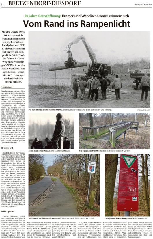 20200313 Altmark Zeitung - 1990 Mauerfall - 30 Jahre Grenzöffnung Wendischbrome-Brome (Kai Zuber)
