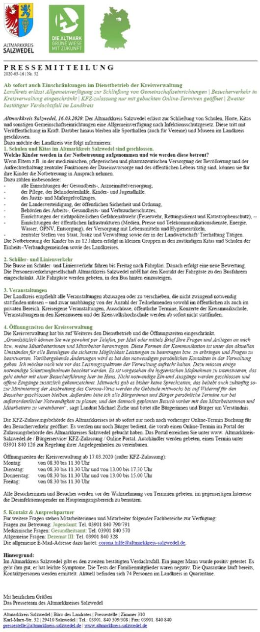 20200317 Altmarkkreis Salzwedel - Aktuelle Maßnahmen zur Bekämpfung des Corona-Virus