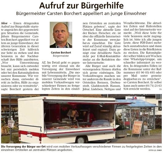 20200321 Altmark Zeitung - Gemeinde - Aufruf zur Bürgerhilfe (Kai Zuber)