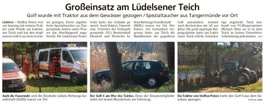 20200407 Altmark Zeitung - Lüdelsen - Golf mit Traktorwinde aus dem See gerettet (Kai Zuber)