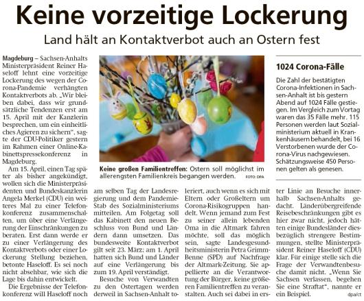 20200408 Altmark Zeitung - Magdeburg - Land hält an Kontaktverbot auch an Ostern fest (dpa-ct)