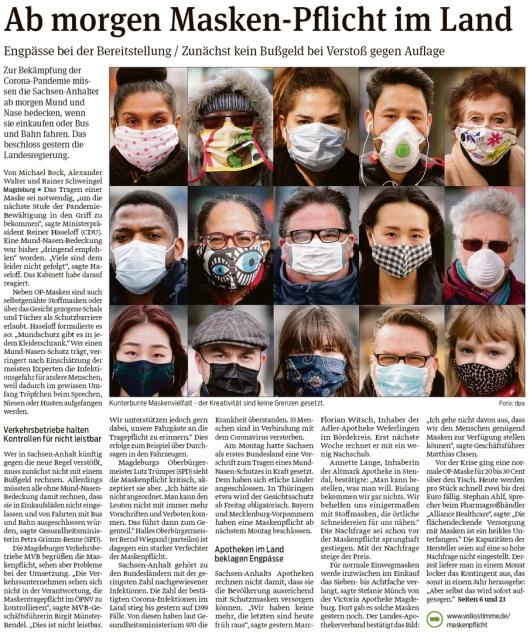 20200422 Volksstimme - LSA - Maskenpflicht ab 20200423
