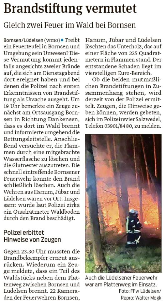 20200424 Volksstimme - Bornsen - Die Feuerwehren der Gemeinde rückten mehrfach aus (Walter Mogk)