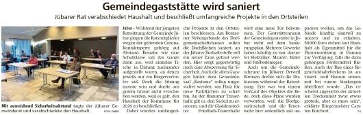 20200429 Altmark Zeitung - Gemeinde Jübar - 6. Ratssitung mit Thema Haushalt 2020 (Kai Zuber)
