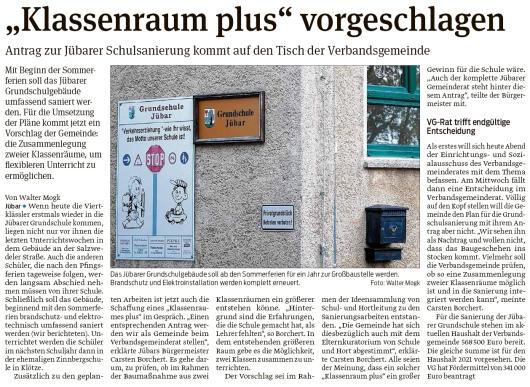 20200504 Volksstimme - Jübar - Gemeindevorschlag zur Schulraumgestaltung (Walter Mogk)