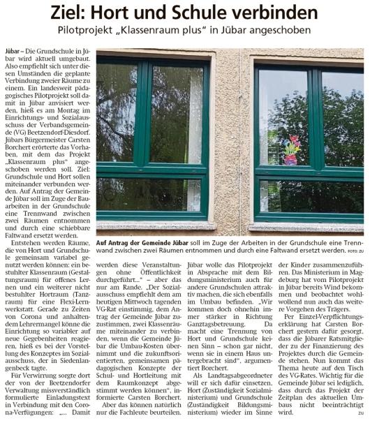 20200506 Altmark Zeitung - Jübar - Klassenraum Plus angeschoben (Kai Zuber)