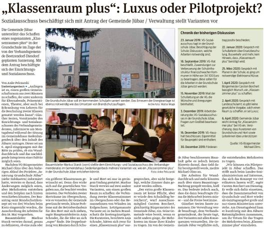 20200506 Volksstimme - Jübar - 'Klassenraum plus' als Pilotprojekt (Anke Pelczarski)