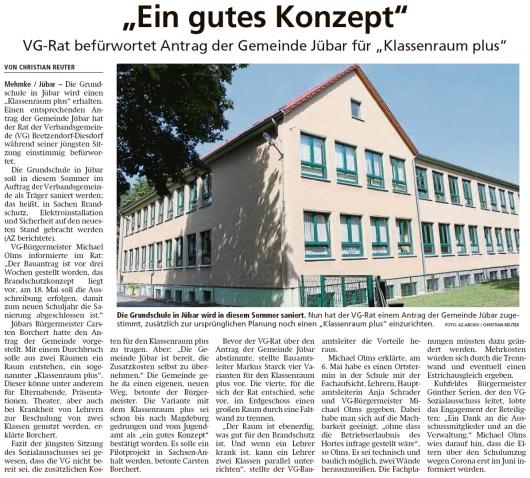 20200512 Altmark Zeitung - Jübar - Klassenraum Plus von VG-Rat befürwortet (Christian Reuter)