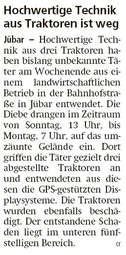 20200512 Altmark Zeitung - Jübar - GPS-Displaysysteme aus Traktoren entwendet (Christian Reuter)