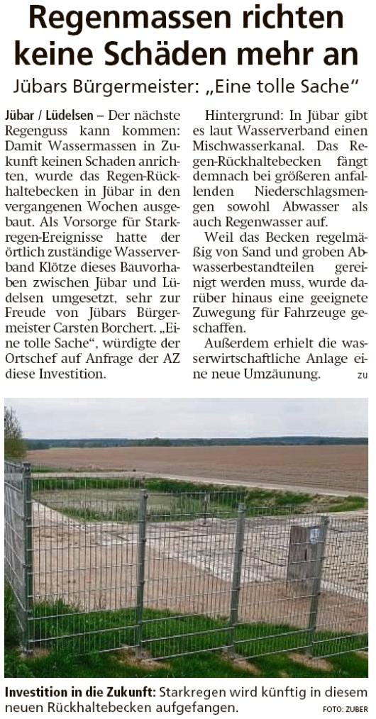 20200515 Altmark Zeitung - Jübar-Lüdelsen - Regen-Rückhaltebecken ausgebaut (Kai Zuber)