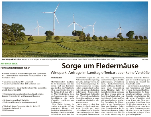 20200525 Altmark Zeitung - Drebenstedt - Windkraftanlagen und Fledermäuse (Kai Zuber)
