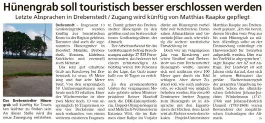 20200529 Altmark Zeitung - Drebenstedt - Hünengrabzugang soll erschlossen werden (Kai Zuber)