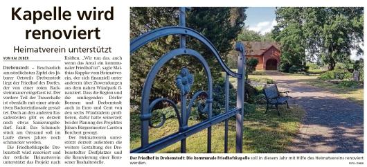 20200612 Altmark Zeitung - Drebenstedt - Heimatverein unterstützt Projekt Friedhofskapelle (Kai Zuber)