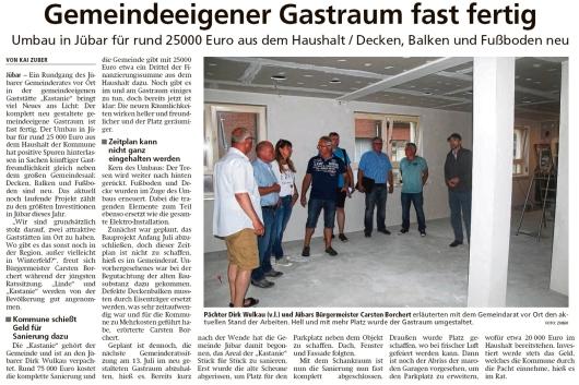 20200622 Altmark Zeitung - Jübar - Gemeindegastraumumbau für 25000€ (Kai Zuber)