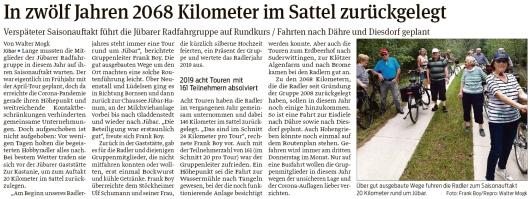 20200701 Volksstimme - Jübar - Radfahrgruppe im Saisonauftakt rund um Jübar (Walter Mogk)