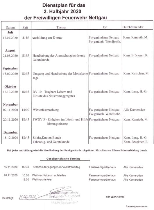 FFW NG Dienstplan 2 2020