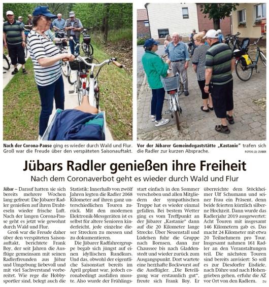 20200708 Altmark Zeitung - Jübar - Jübarer Radfahrgruppe wieder unterwegs (Kai Zuber)
