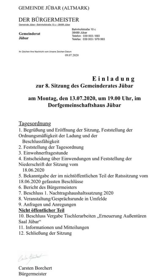 Gemeinde Jübar - 8. Sitzung des Gemeinderates am 13.07.2020