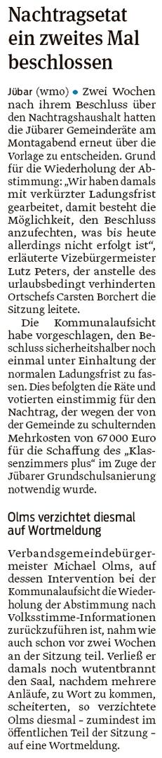20200729 Volksstimme - Gemeinde Jübar - Nachtragsetat beschlossen (Walter Mogk)