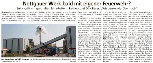 20200805 Altmark Zeitung - Nettgau - Sonae Arauco denkt über Betriebsfeuerwehr nach (Kai Zuber)