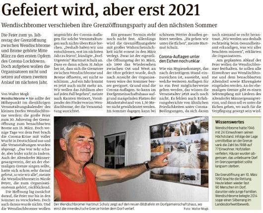 20200812 Volksstimme - Wendischbrome - Grenzöffnungsfeier verschoben (Walter Mogk)