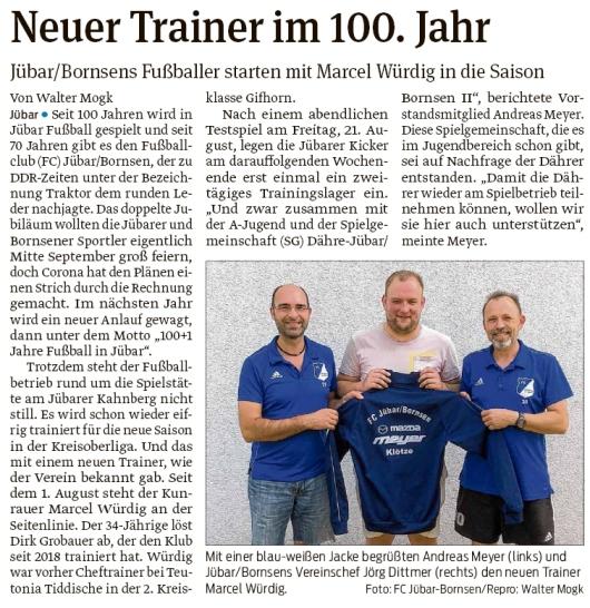 20200817 Volksstimme - Jübar - FCJB mit neuem Trainer Marcel Würdig (Walter Mogk)