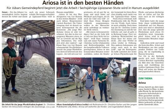 20200902 Altmark-Zeitung - Hanum - Gemeindepferd Ariosa ist in den besten Händen (Kai Zuber)