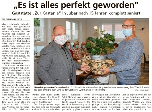 20200908 Altmark Zeitung - Gemeinde Jübar - Erfolgreicher Gaststättenumbau (Christian Reuter)